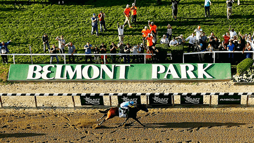 Belmont Stakes race at the Belmont Park Racetrack