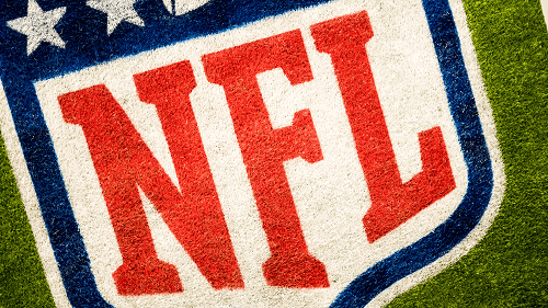 NFL logo painted on grass