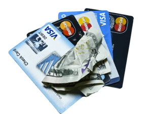 visa cards with crumpled note