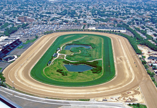 Sky view of the Aqueduct Racetrack
