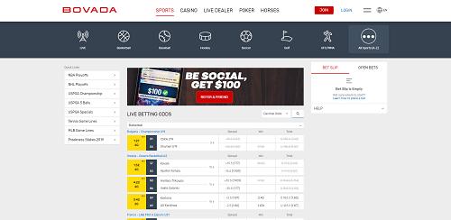 Bovada sportsbook homepage