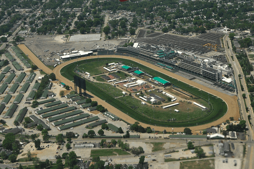 Aerial view of Churchill Downs racetrack
