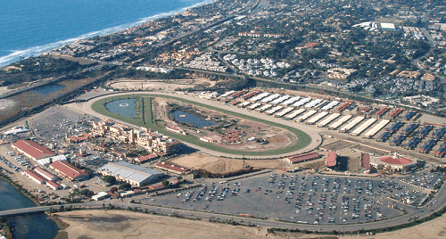 aerial view of del mar race track