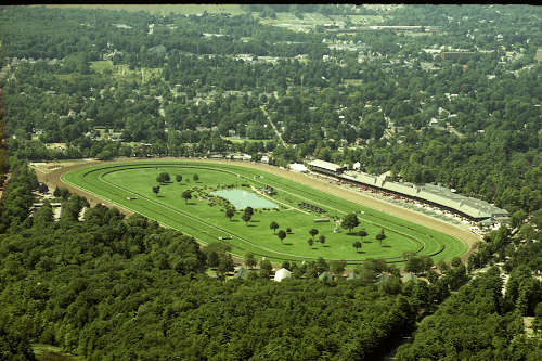 aerial shot of saratoga race track